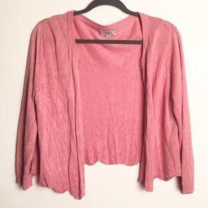 🎉Loft pink open front cardigan GUC L